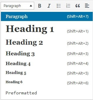 Image showing the different kinds of header tags.