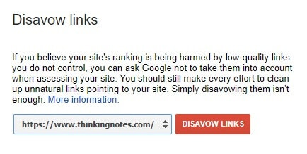 Image showing how the disavow Google page looks like.