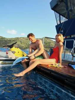 Getting ready to snorkel from the marina on Seadream.