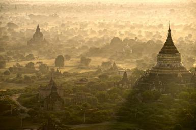 Sunrise over Bagan, Myanmar.