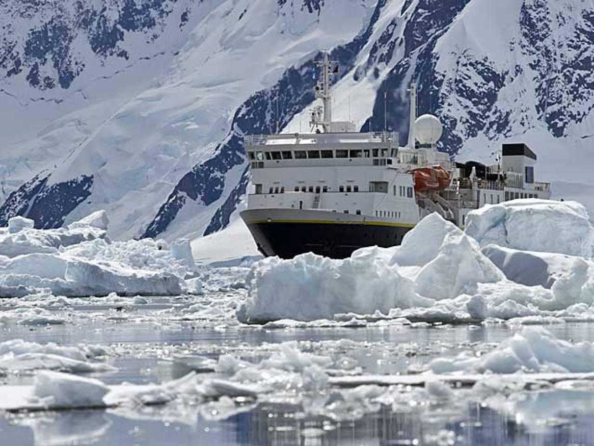 Cruise ship in Antarctica.