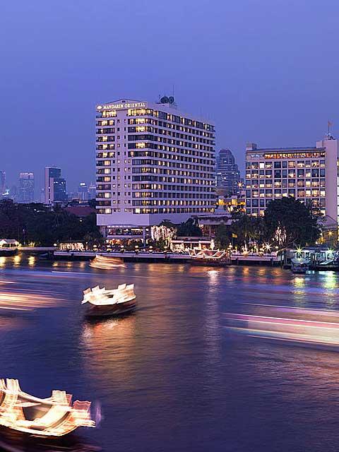 Mandarin Oriental in Bangkok seen from Chao Praya River.