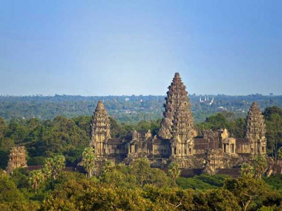 Angkor Wat in Siem Reap seen from above.