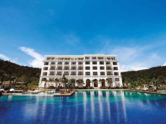 Facade and pool at The Danna on Langkawi, Malaysia.