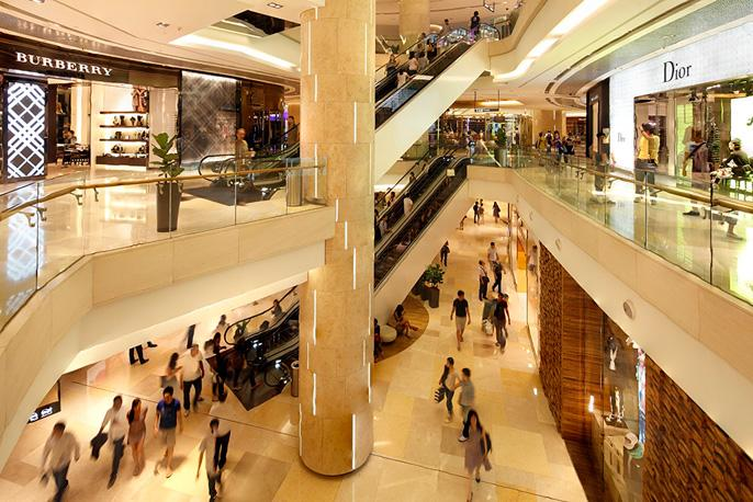 Interior at the luxurious ION Orchard Shopping Centre in Singapore.