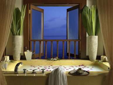 Private dining in spa hut at Pangkor Laut Resort, Malaysia.