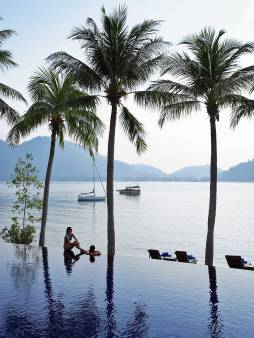 Infinity pool at Royal Bay Beach Club at Pangkor Laut Resort, Malaysia.