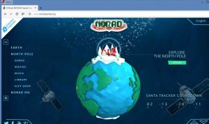 Screen shot of NORAD Santa Tracker.