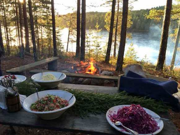 food by the lake