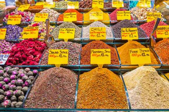 Turkish spices at the market in Istanbul.