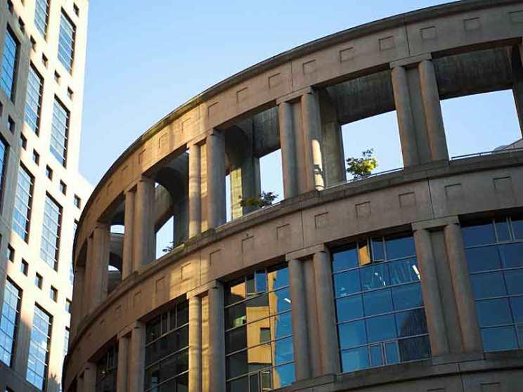 Vanvoucer Public Library is built like a Roman Amphitheatre.