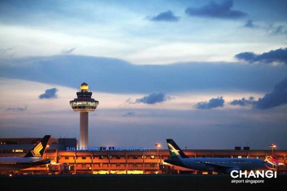 Changi Airport at dusk.