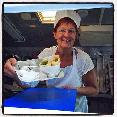 """Chef Birgitta """"Bee"""" Andersson is serving delicious Swedish pancakes with a smile and some attitude."""