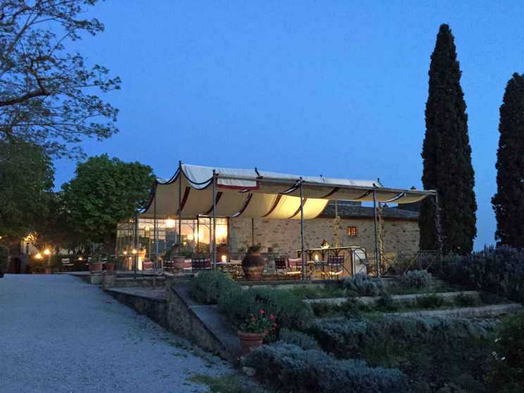The restaurant at Il Falconiere at dusk.