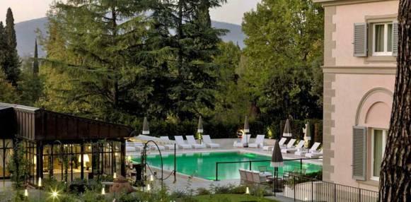 The pool at Villa Cora with Villa Eugenia to the right.