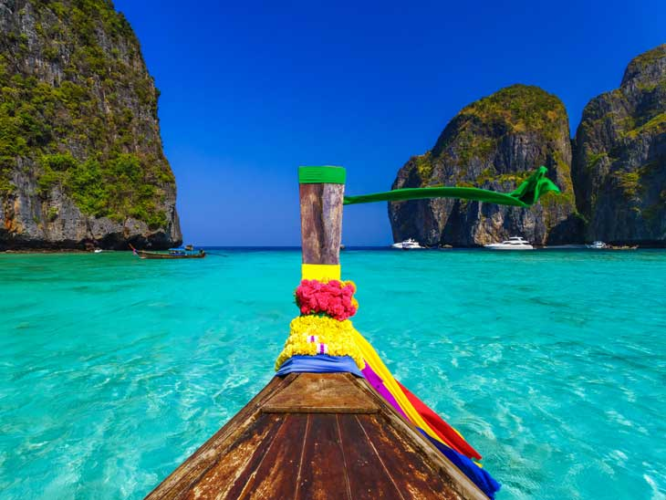 Long tail boat in Phuket archipelago.