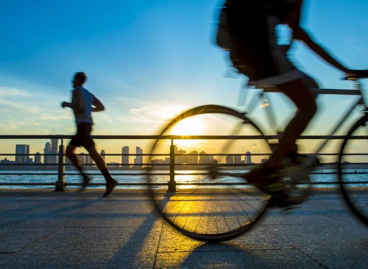 Cycling and jogging are great work-outs while traveling.