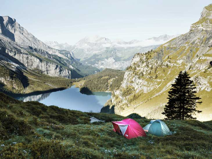 Camping in the mountains is a great experience.