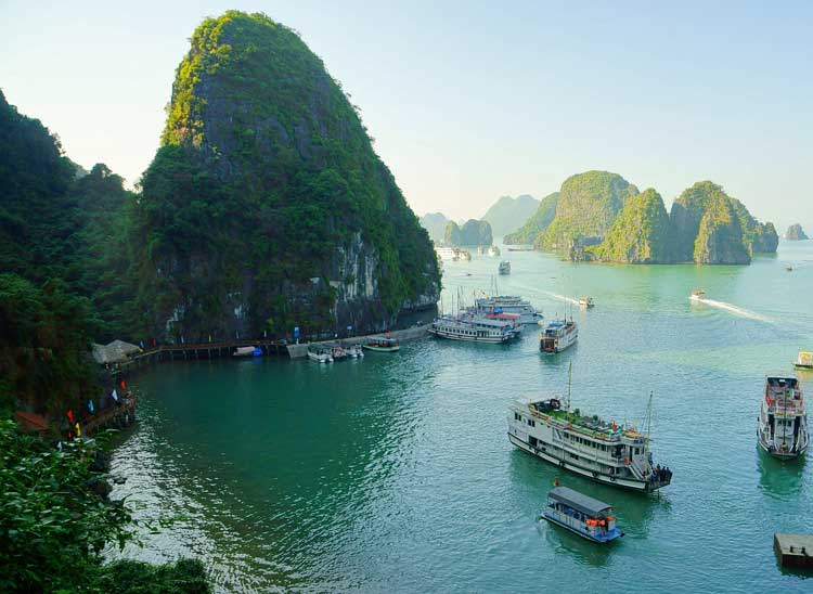 Cruise ships on Halong Bay, Vietnam.