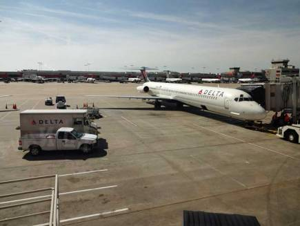 Delta Airlines at a gate at ATL.