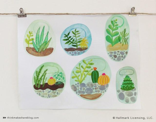Cactus Watercolor by Sarah Walsh | thinkmakeshareblog.com