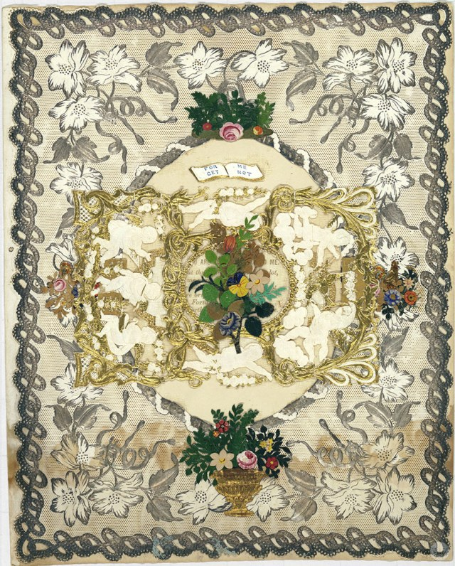Original valentine designed by Esther Howland featuring ornate greenery