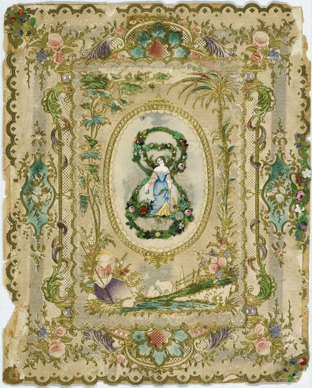 Ornate framed greeting card designed by Esther Howland