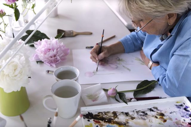 Hallmark partner and Dutch painter Marjolein Bastin in her home studio