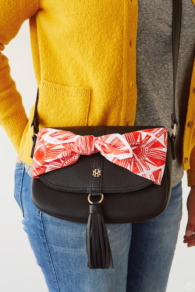 Purse accented with DIY bandana