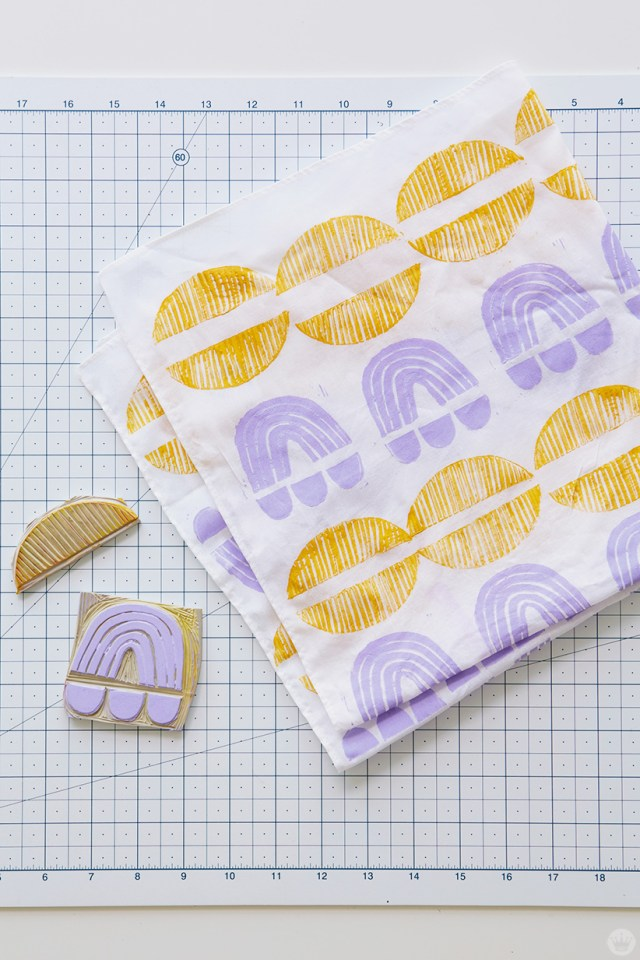 Block print gifts: Rubber stamped bandana
