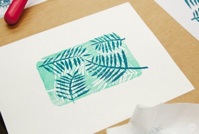 Layered linocut prints