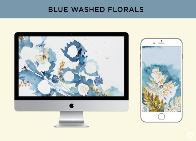 Free digital wallpaper: Pressed flower art from Hallmark. Blue-washed floral designs for monitors and phones.