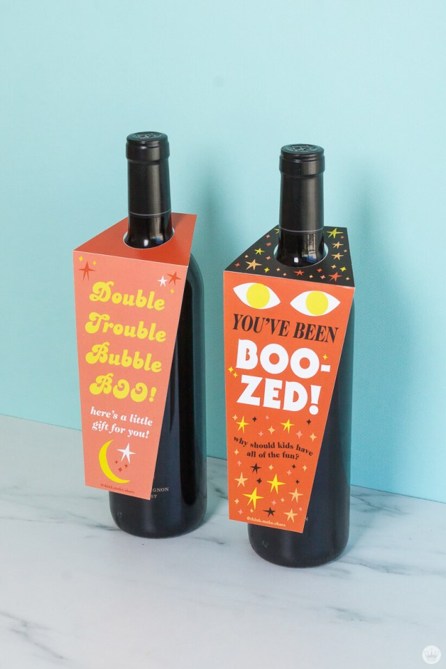 Bottles of wine with free printable YOU'VE BEEN BOO-ZED tags