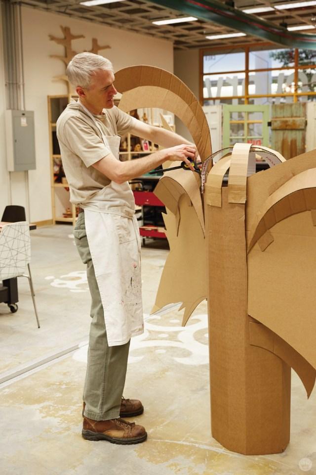 Hallmark artists explore cardboard Halloween costume ideas. Ken S makes a moth.