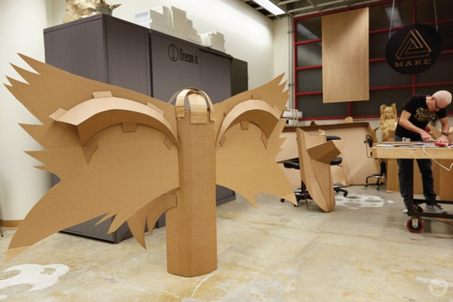 Hallmark artists explore cardboard Halloween costume ideas. Ken S makes a giant moth.