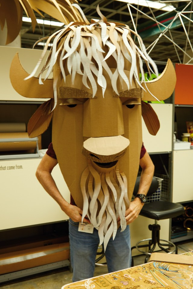 Hallmark artists explore cardboard Halloween costume ideas. Bison takes shape.