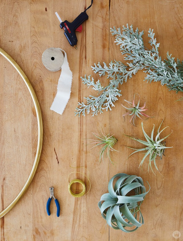 Supplies for Gold Hoop Christmas Card Display