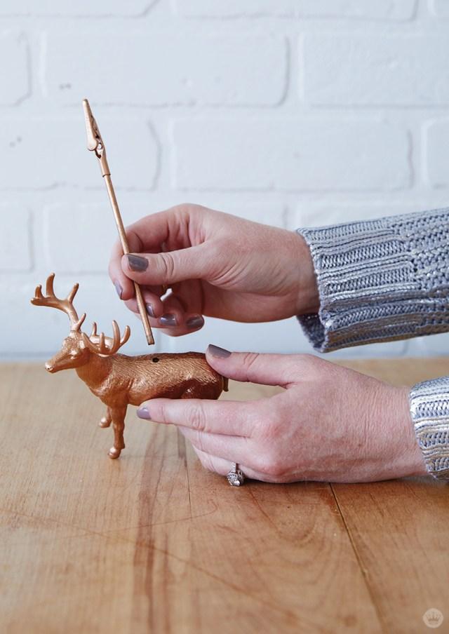 Adding a dowel to Gilded Deer Christmas Card Holders