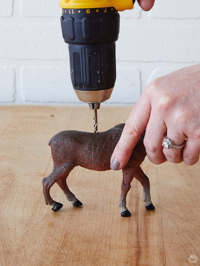 Preparing a deer for Gilded Deer Christmas Card Holders