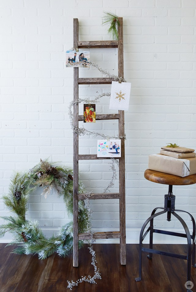 Wooden Ladder Christmas Card Display