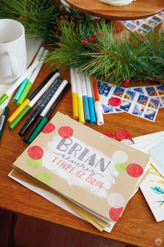 Christmas Card Challenge: decorated envelope with confetti