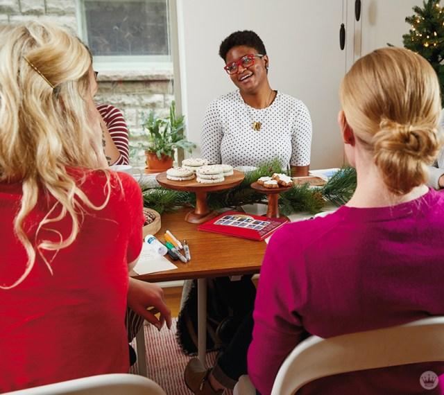 Hallmark artists at a Christmas card party