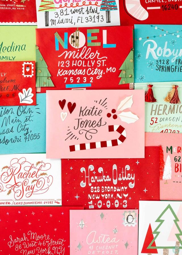 Christmas Card Challenge: hand addressed envelopes and Hallmark cards