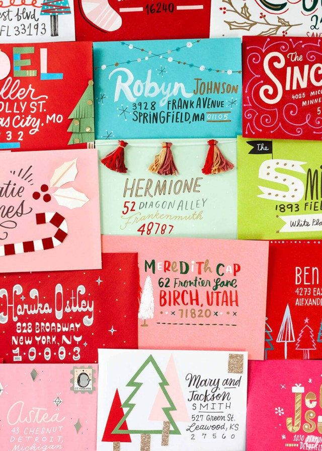 Christmas Card Challenge: hand addressed envelopes and Hallmark cards