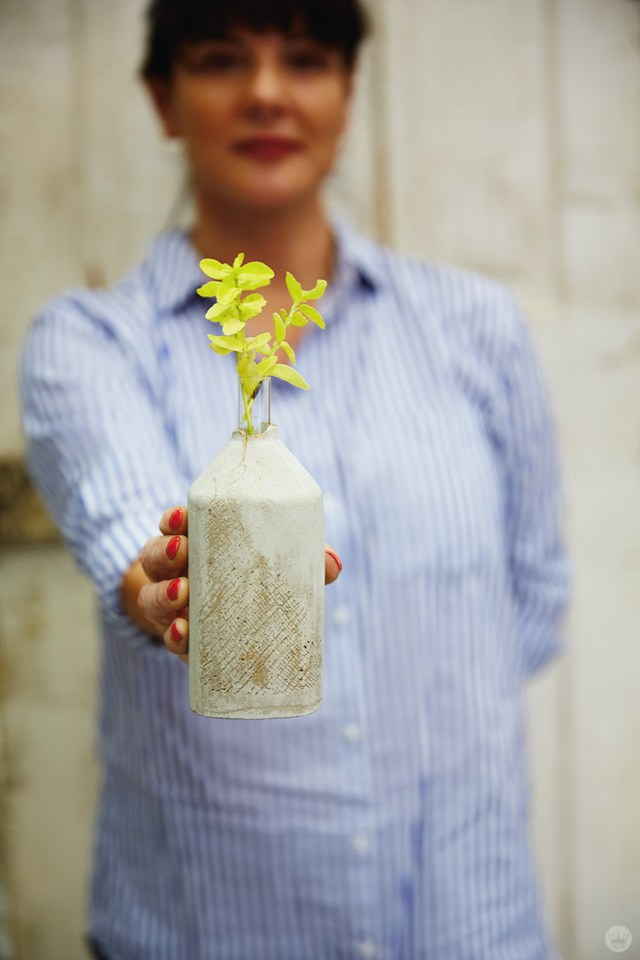 Showing off a finished concrete vase
