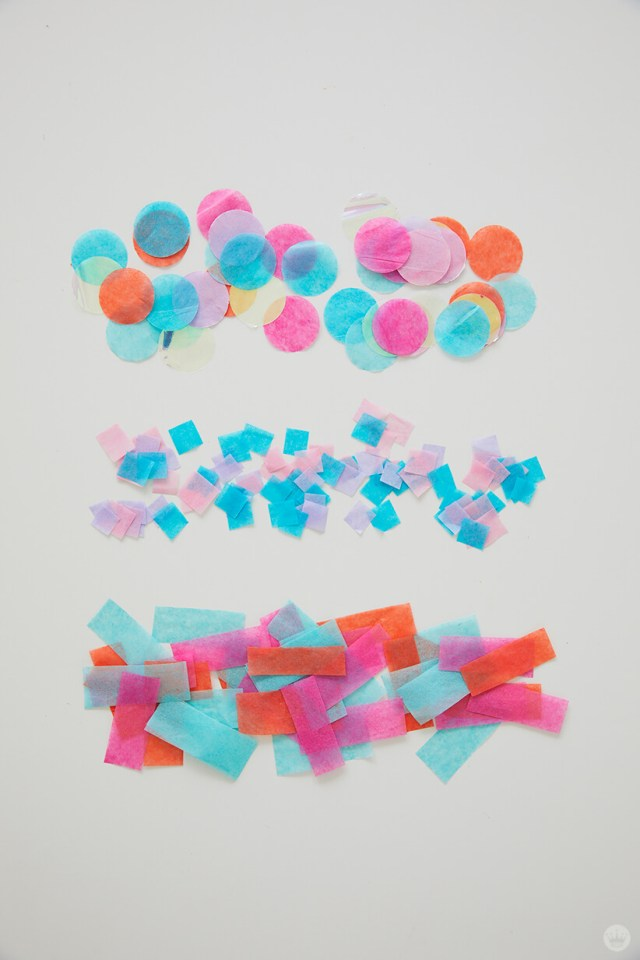 Different styles of tissue paper confetti: circles, tiny squares, rectangular strips