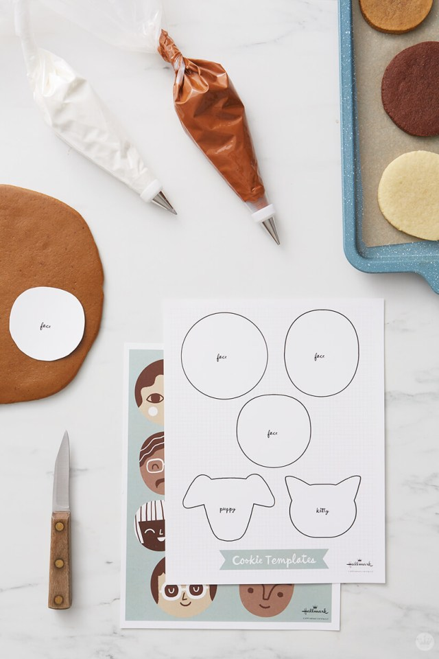 Supplies for cookie faces: Pastry bags and tips, paring knife, free printable template | thinkmakeshareblog.com