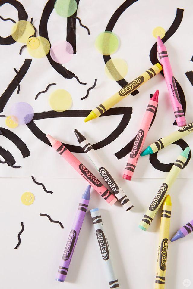 DIY Retro party decor and Crayola® crayons