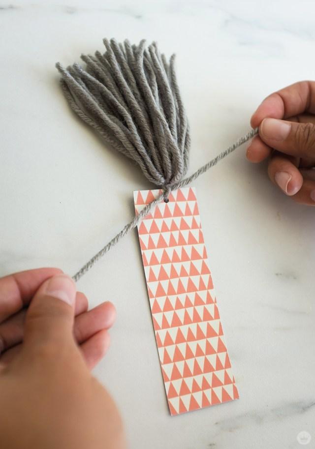 DIY Tassel Bookmarks: Attaching tassel to bookmark