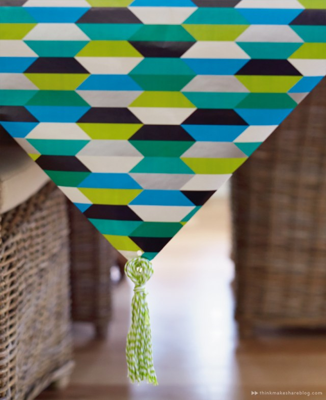 DIY Fathers Day table runner tassel with gift wrap products   thinkmakeshareblog.com